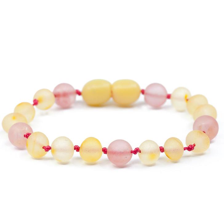 Maximum strength RAW amber teething, colic & reflux ankle bracelet mixed with rose quartz