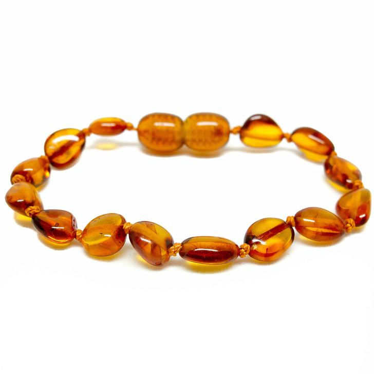 Baltic Amber bracelet / anklet for KIDS • Polished cognac beans