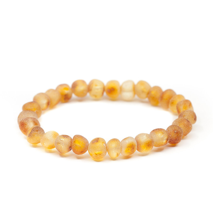 Maximum strength amber stretch teething & colic anklet - RAW honey baroque