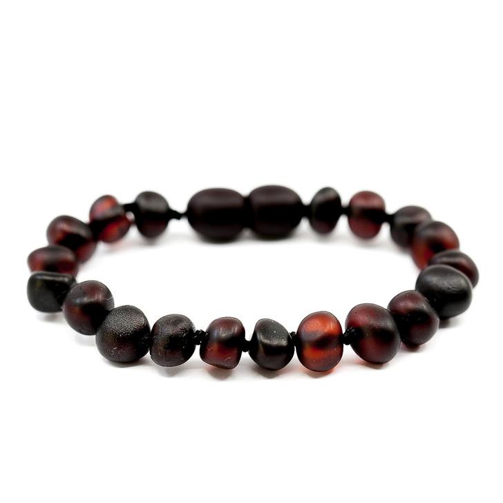 Amber teething bracelet / anklet - unpolished black cherry