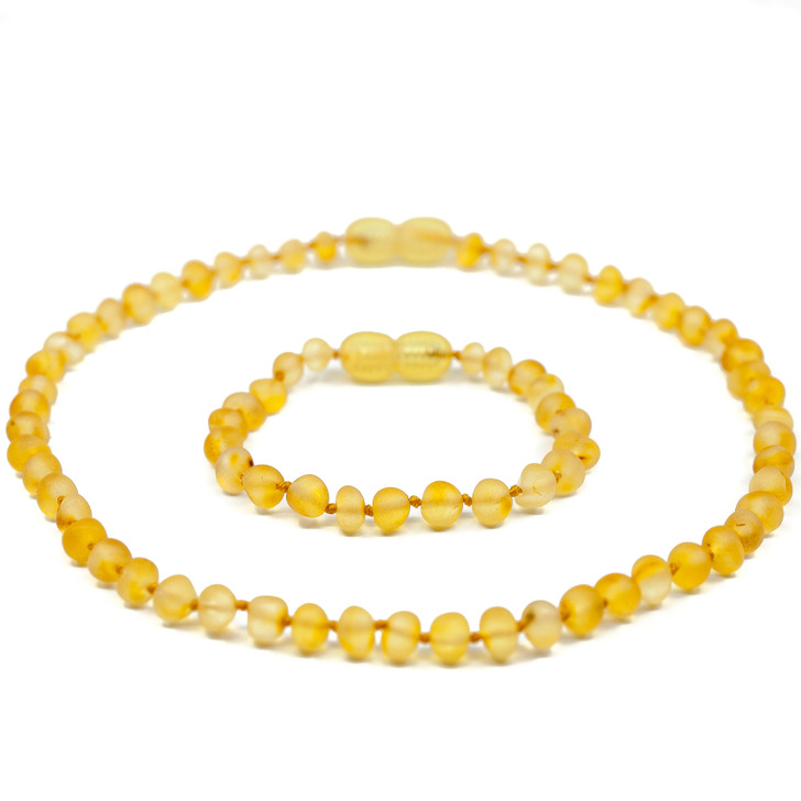 Baltic Amber Teething Necklace + Amber Teething & Colic Anklet Set for BABY • Unpolished Honey colour Baroque