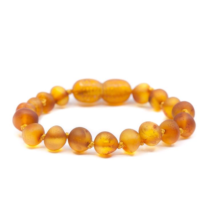 Baltic Amber bracelet / anklet for KIDS • Unpolished RAW honey baroque