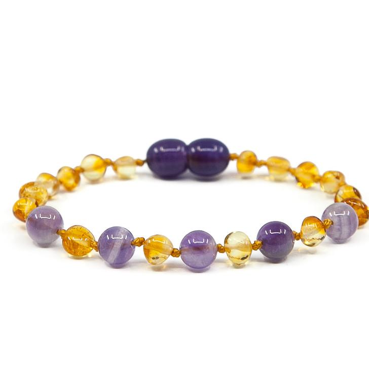 Baltic Amber/Amethyst Teething Bracelet / Anklet • Polished Lemon baroque