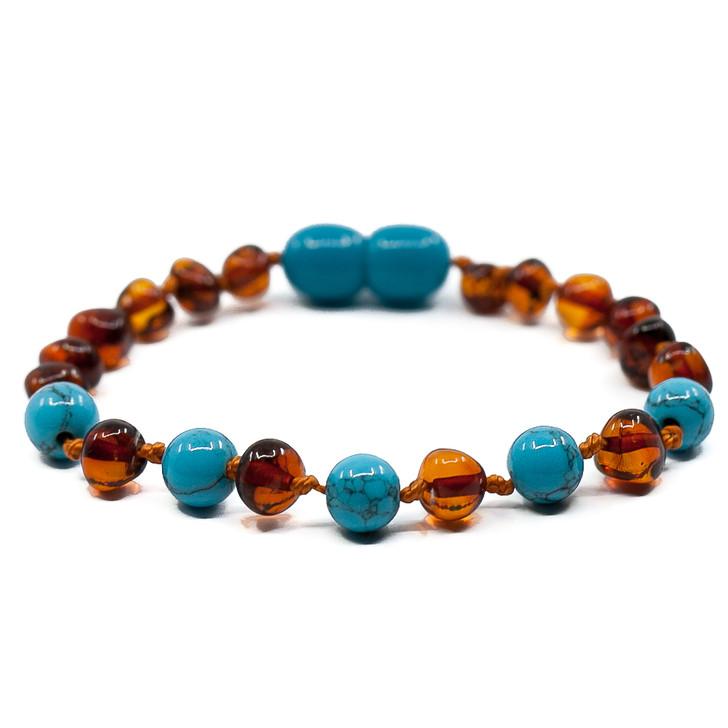 Baltic Amber/ Turquoise Teething bracelet / anklet • Polished cognac baroque