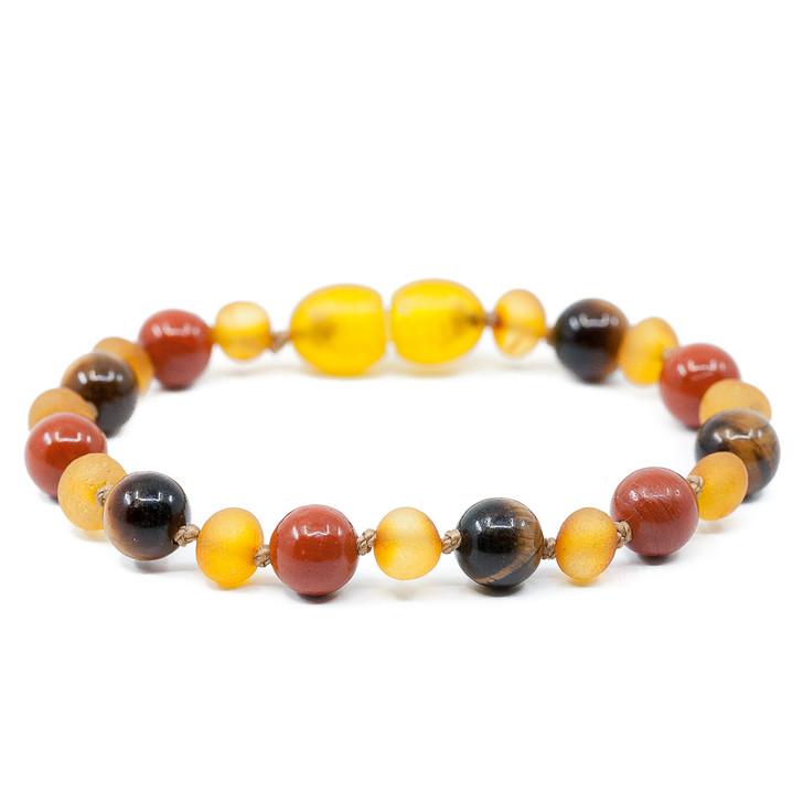 Unpolished Honey Amber Teething Bracelet Mixed With Tiger Eye & Red Jasper