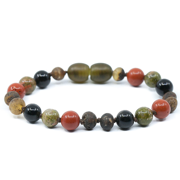 For better sleeping grey amber teething & colic ankle bracelet mixed With unakite and gemstones