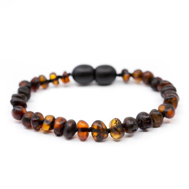 Baltic Amber bracelet / anklet for KIDS • Unpolished brown baroque