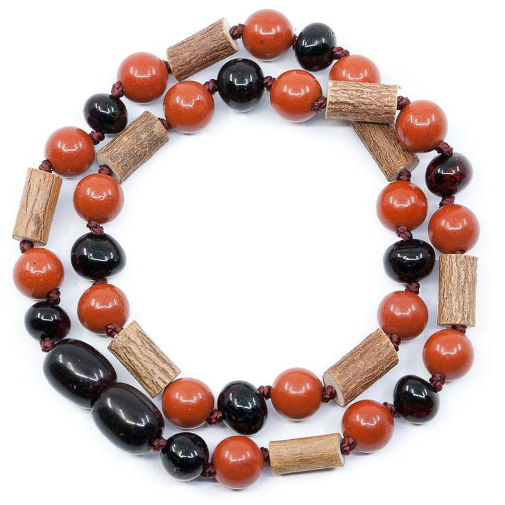 Cherry Amber, Red Jasper & Hazelwood necklace
