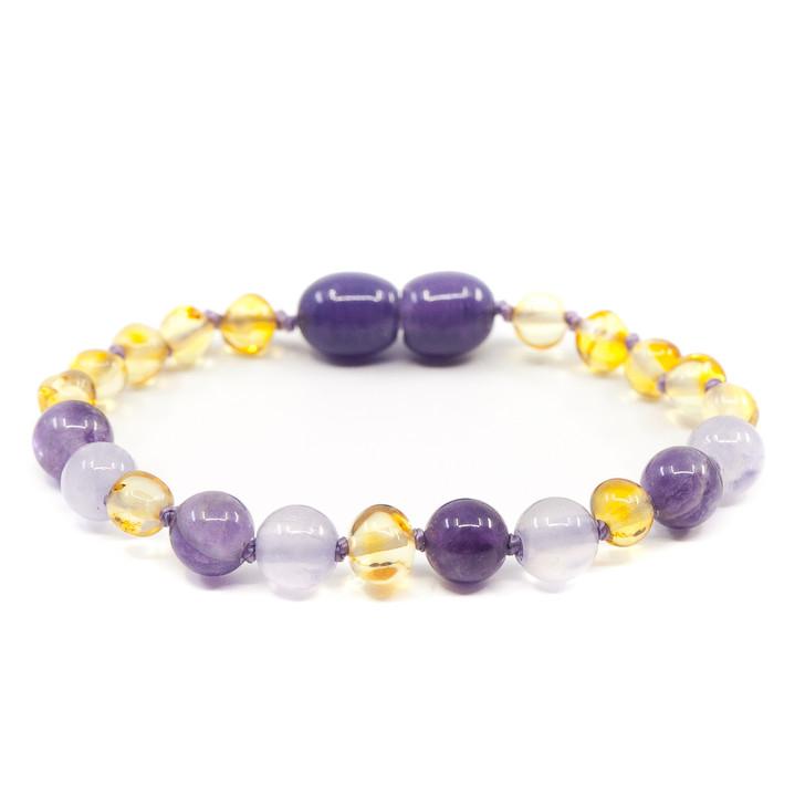 Amber/ Amethyst/ Jade Teething bracelet/ anklet • Polished Lemon Baroque