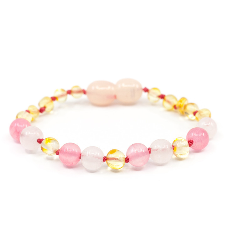 Maximum strength Amber/Rose Quartz/Pink Jade Teething bracelet/ anklet • Polished Lemon Baroque