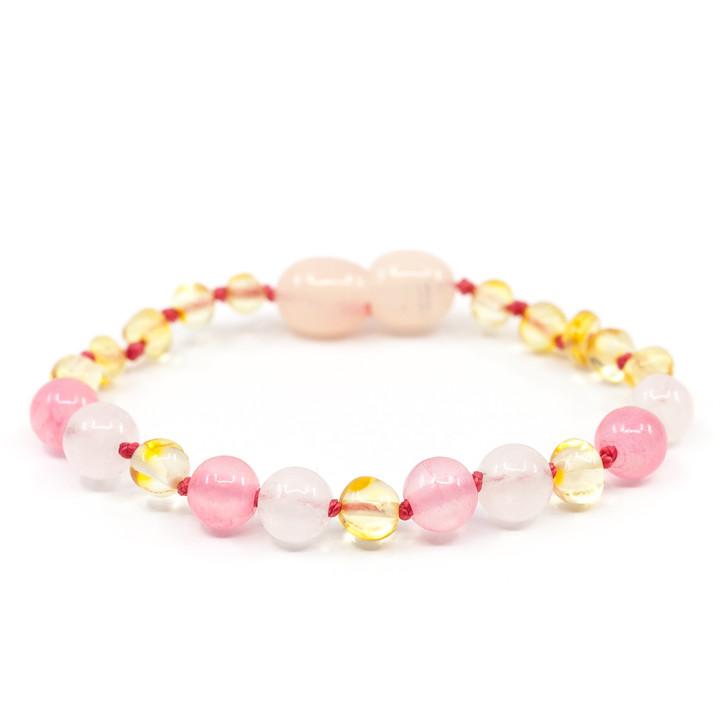 Amber/Rose Quartz maximum strength teething & colic anklet / bracelet