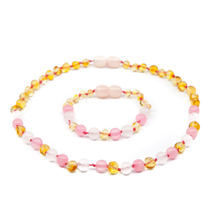 Amber/Rose Quartz/Pink Jade SET (necklace + anklet/ bracelet) • Polished Lemon Baroque