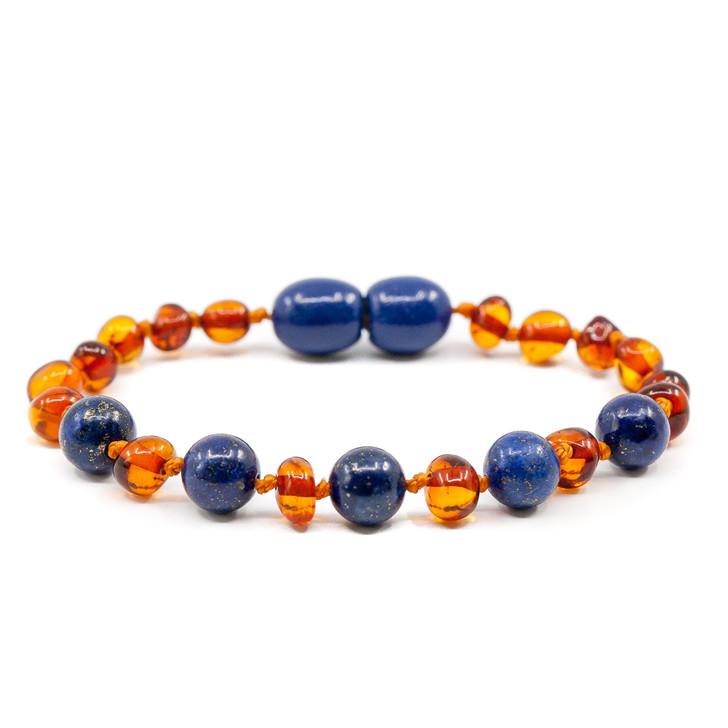 Baroque Cognac Amber/Lapis Lazuli Teething Bracelet/ anklet