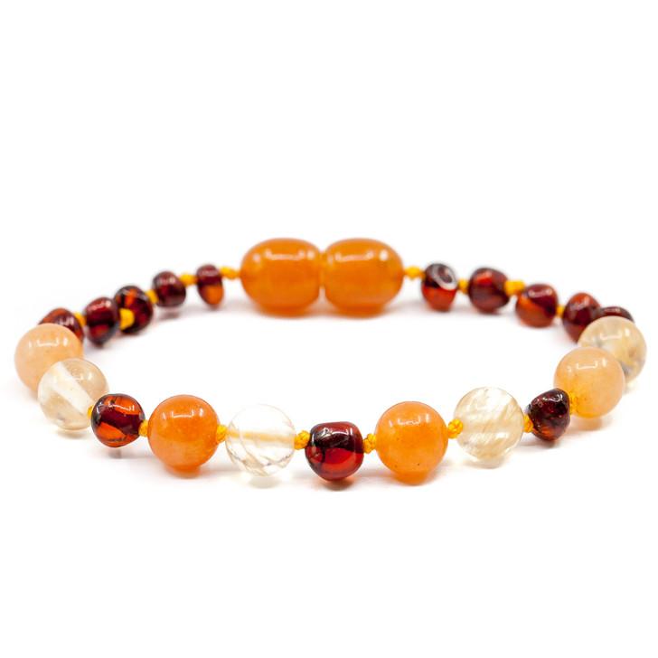 Amber/Quartz/Aventurine teething & Colic bracelet / anklet • Polished Cognac amber baroque