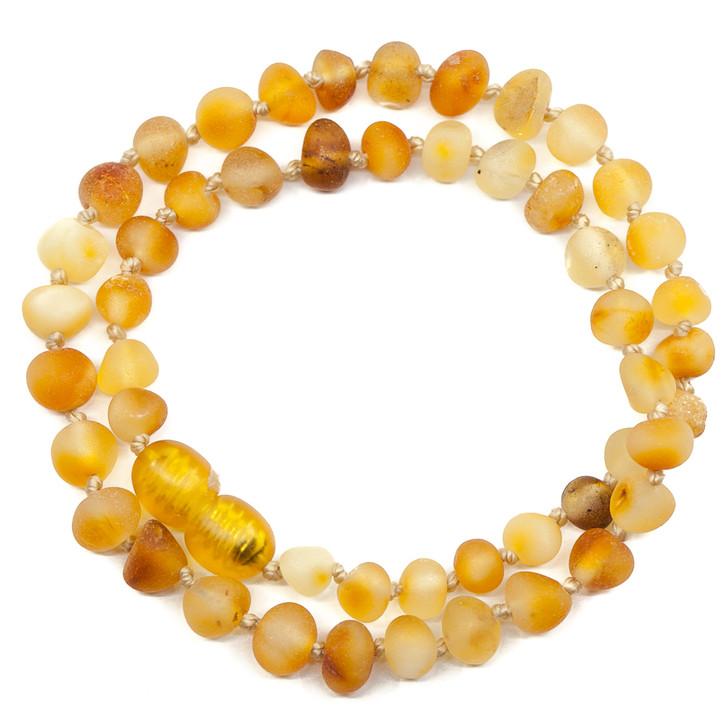 Maximum strength Baltic Amber Teething, Colic & Reflux  necklace • Unpolished RAW Butterscotch/Milk/Egg Yolk RAW baroque