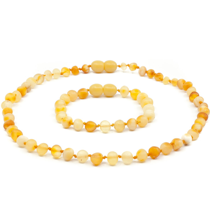 Maximum strength Raw Mix Amber Teething & Drooling Necklace + Anklet Set