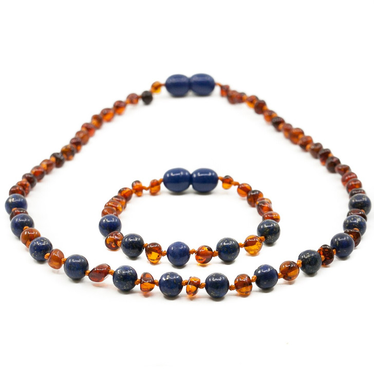 Baltic Amber Teething Necklace + Amber Teething Anklet Set for BABY • Polished Cognac Baroque Amber/Lapis Lazuli