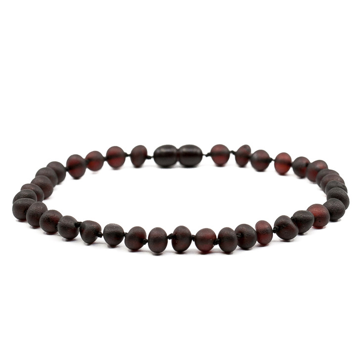 Baltic Amber Anklet for ADULTS • Unpolished Cherry Black Baroque