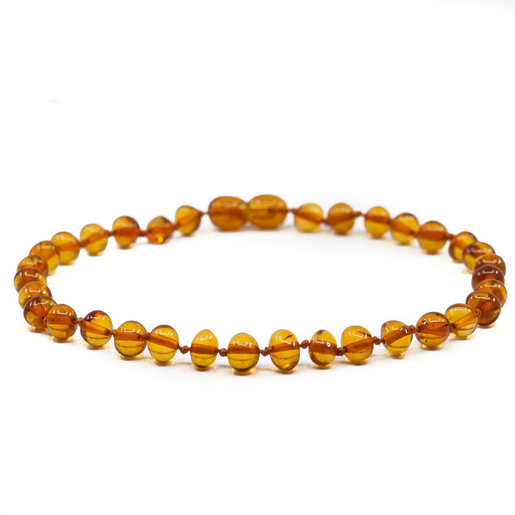 Baltic Amber Anklet for ADULTS •  Polished Cognac Baroque
