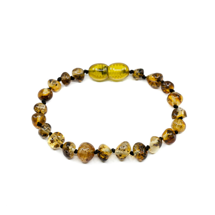 Baltic Amber Teething bracelet / anklet • Polished swamp green baroque
