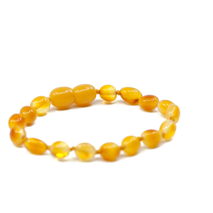 Most Efficient Baltic Amber Teething bracelet / anklet • Polished Egg Yolk beans