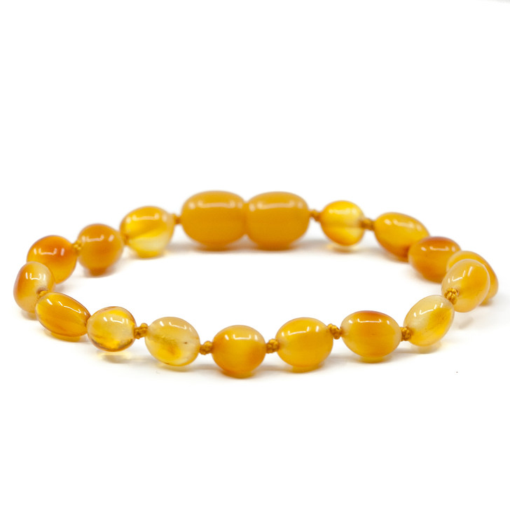 Most popular Baltic Amber Teething, Colic & Reflux bracelet / anklet • Polished Egg Yolk beans (Adult size available)