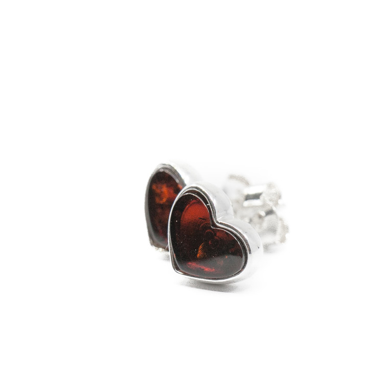 Small Silver And Dark Cherry Amber Small Heart Studs