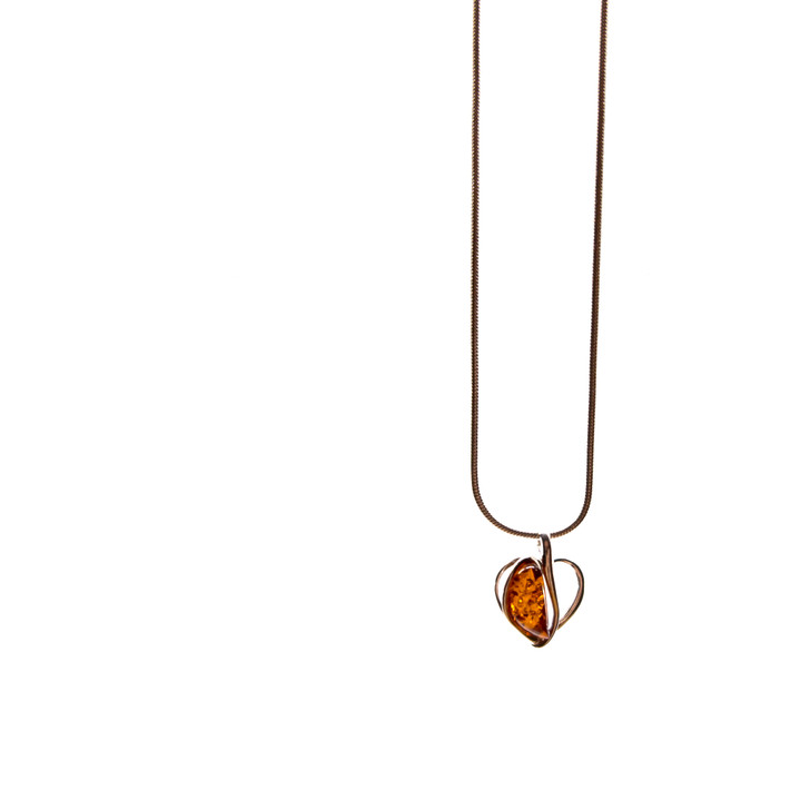 Heart Form Silver & Baltic Amber Pendant