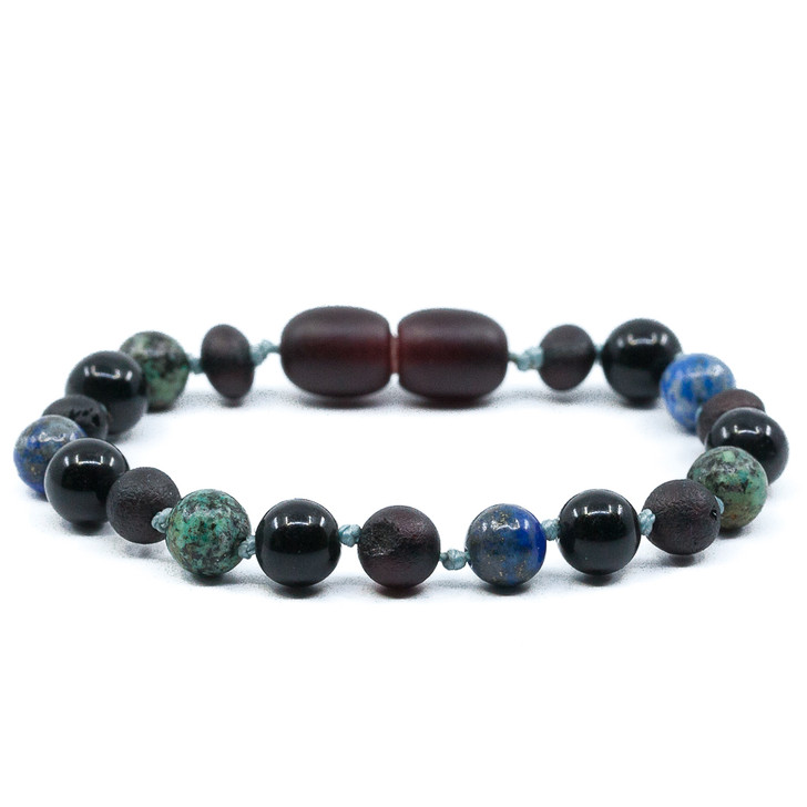 100% Genuine Cherry Amber Teething Bracelet Mixed With African Turquoise, Obsidian and Lapis Lazuli