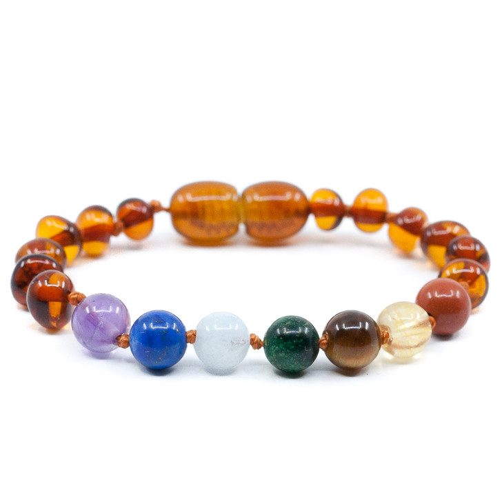 Maximum strength Baltic Amber  & Seven Gemstones Chakra Teething Anklet