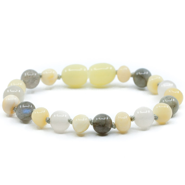 Maximum strength Milky Amber Teething Bracelet Mixed With Moonstone and Labradorite