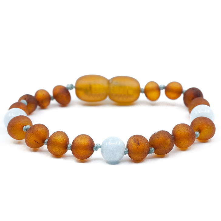 RAW Amber Cognac Teething Anklet Mixed With Aquamarine for Maximum Pain Relief