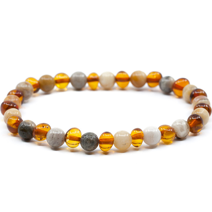 Polished Cognac Healing Amber Bracelet Mixed With Crazy Agate for Adults