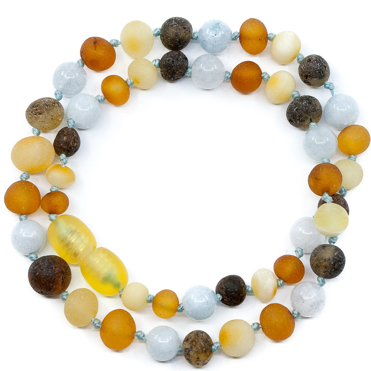 Amber Raw Multicolour maximum strength Teething Necklace Mixed With Aquamarine