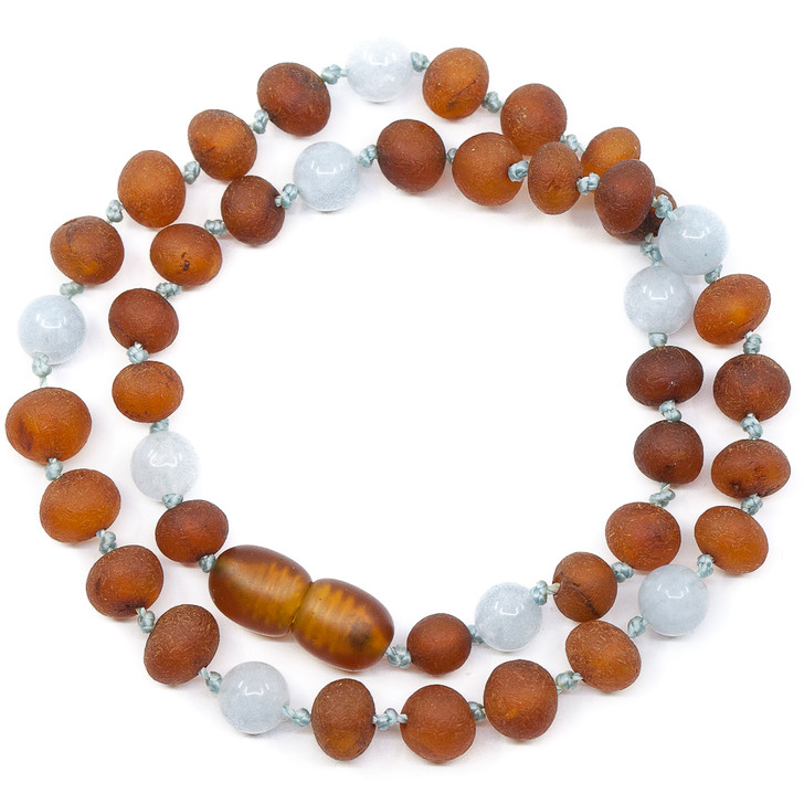 RAW Amber Cognac Teething Necklace Mixed With Aquamarine for Maximum Pain Relief