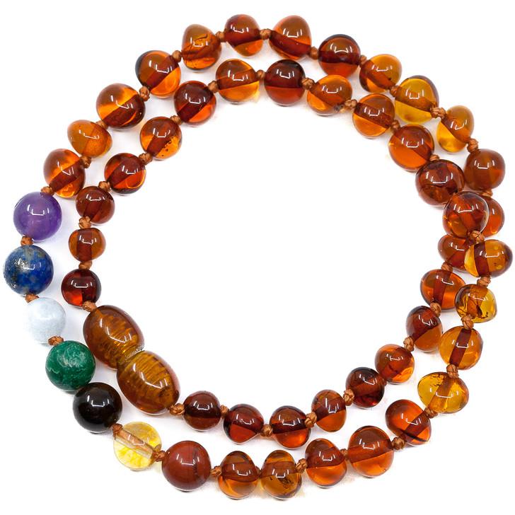 Maximum strength Baltic Amber  & Seven Gemstones Chakra Teething Necklace