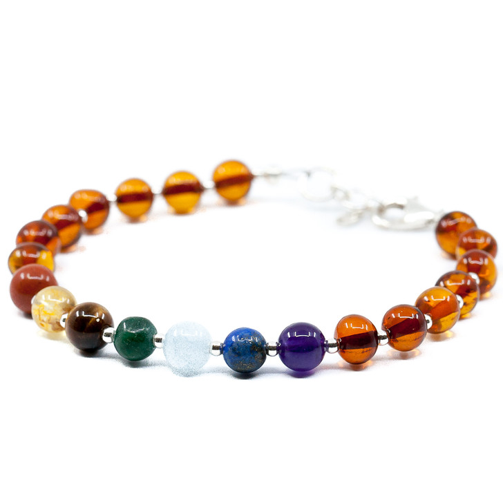 Amber Cognac and Chakra Pattern Bracelet Mixed With Silver