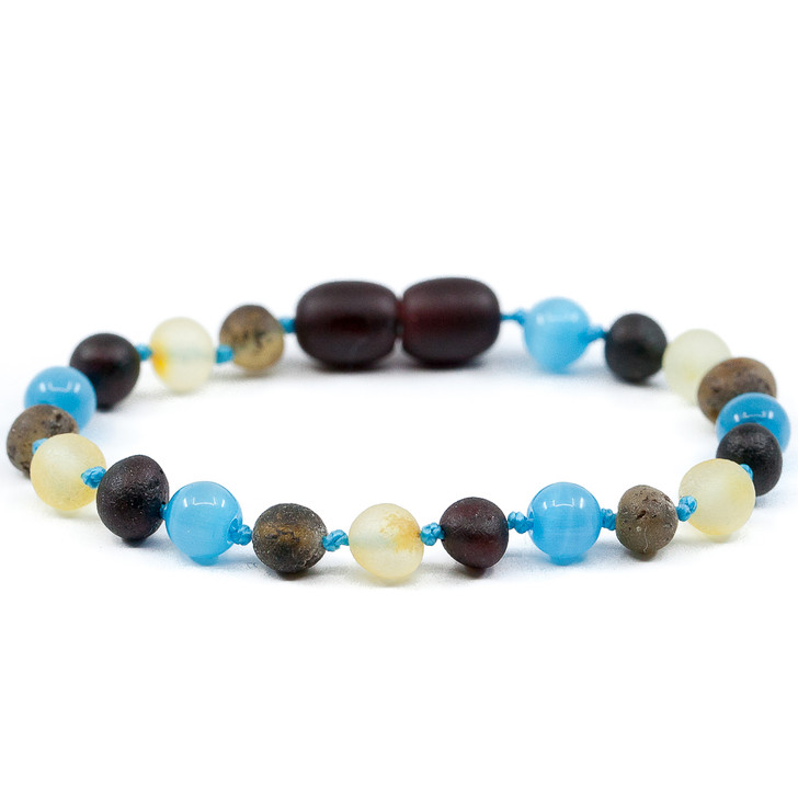 RAW amber teething ankle bracelet mixed with blue cats eye