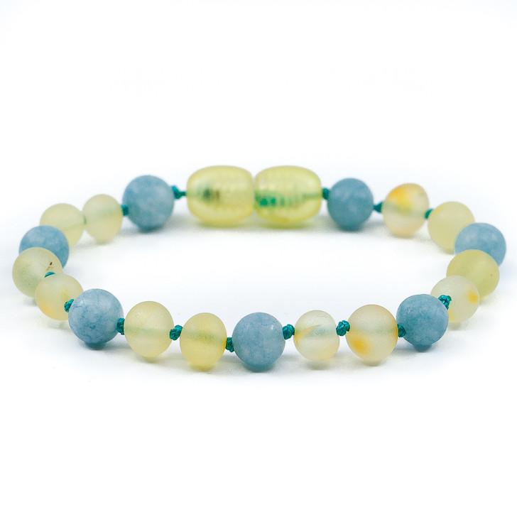 RAW lemon amber teething ankle bracelet mixed with aquamarine