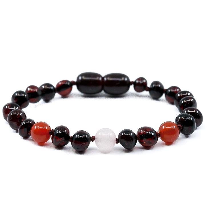 Cherry amber teething, colic & reflux ankle bracelet mixed with smoky quartz & carnelian
