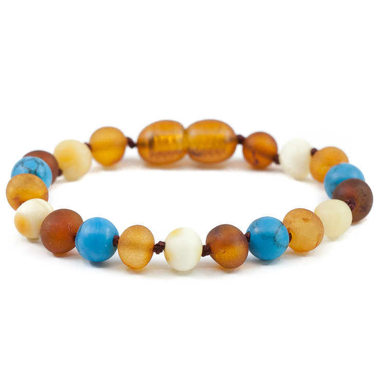 RAW multicolour amber maximum strength teething & colic anklet mixed with turquoise