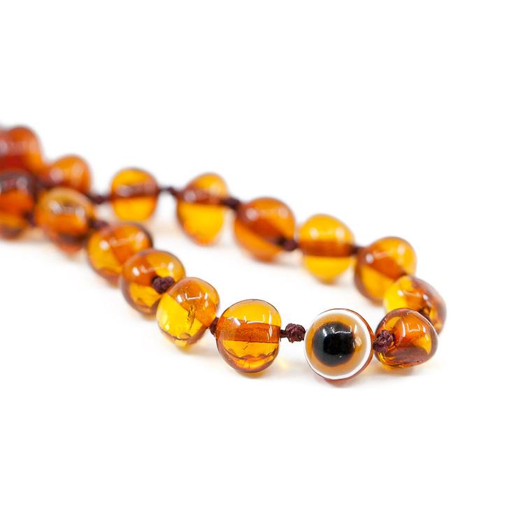 Cognac amber teething  & colic maximum strength anklet / bracelet with Evil Eye