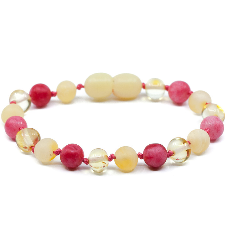 Lemon amber mixed with red stripes jade teething & colic anklet