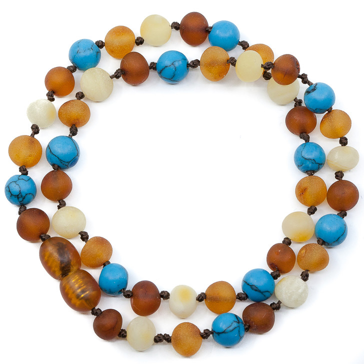 RAW multicolour amber maximum strength teething & colic necklace mixed with turquoise