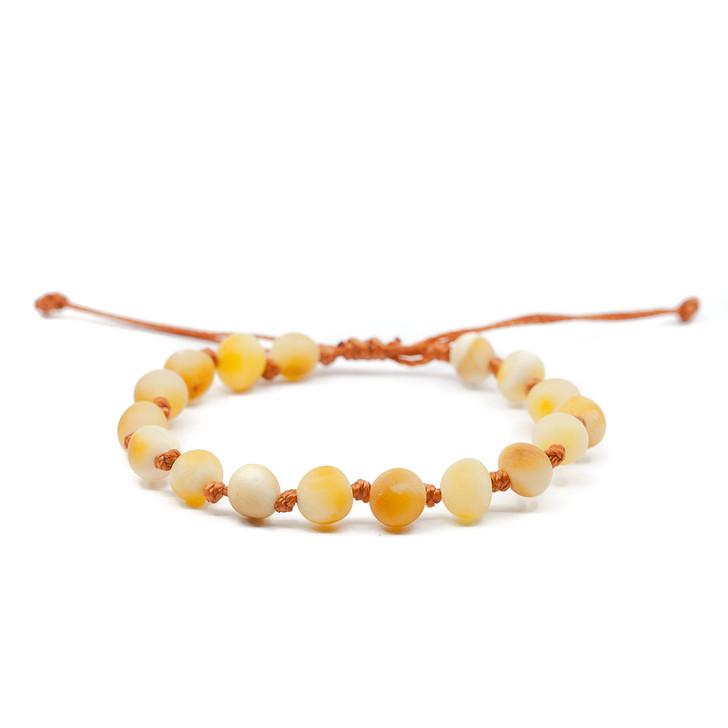 Adjustable Raw Amber teething bracelet for Kids