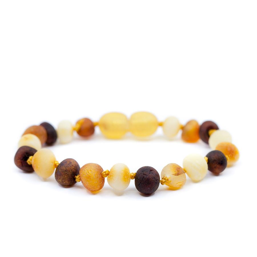 Unpolished multicolor baroque amber teething & colic anklet / bracelet