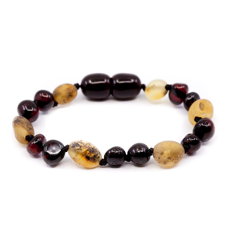 Mixed beads dark cherry + swamp honey amber  teething anklet/ bracelet