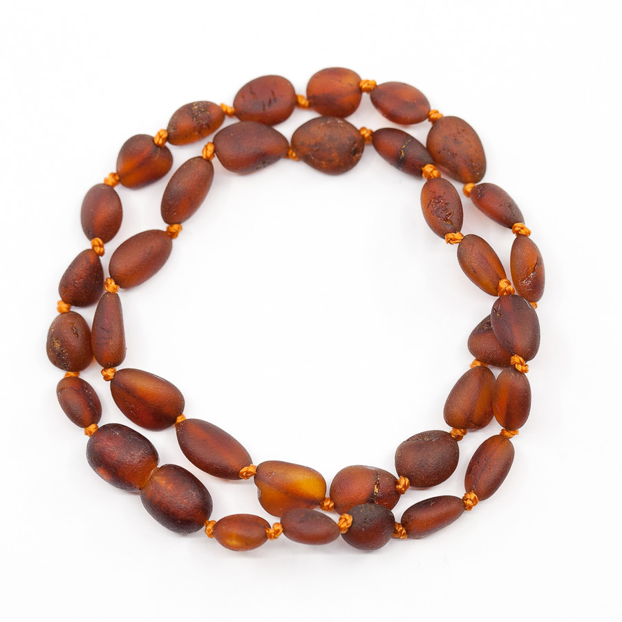 Unpolished dark cognac bean beads amber teething & colic necklace
