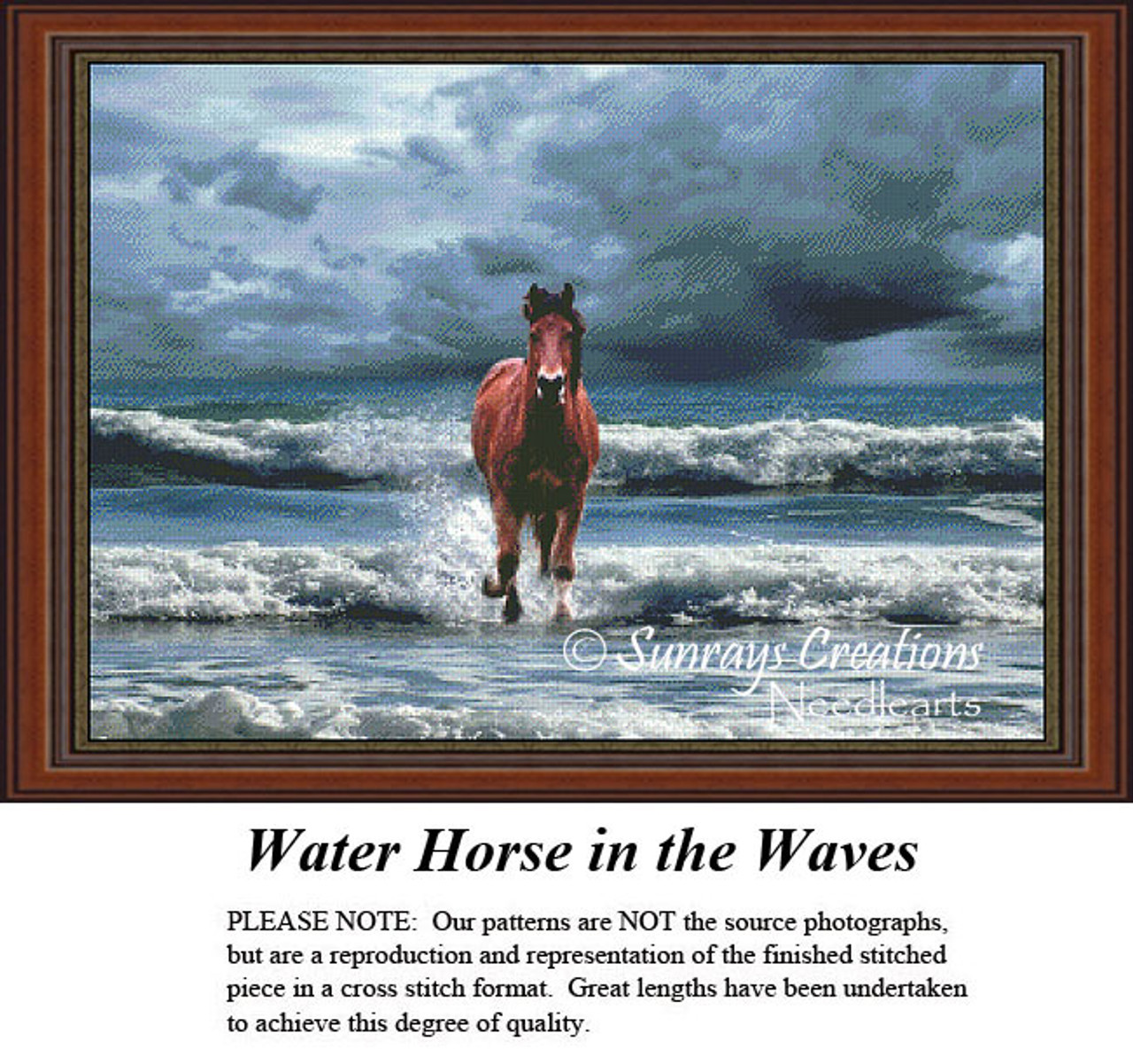 Animal Cross Stitch Patterns Water Horse In The Waves