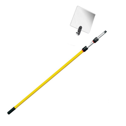 Inspection Mirror Telescoping 4 ft - 12 ft Pole with 6 in x 6 in Acrylic Mirror